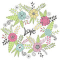 Wreath vector illustration made of flowers and herbs. Royalty Free Stock Photo