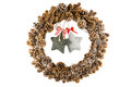 Wreath vintage christmas with red ribbon bow on stars Stock Photos