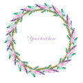 Wreath of watercolor feathers