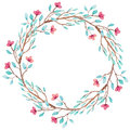 Wreath With Watercolor Little Flowers And Branches