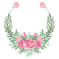 Wreath With Watercolor Pink Roses And Green Leaves