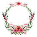 Wreath With Watercolor Wild Red Flowers And Green Leaves