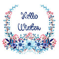 Wreath with Watercolor Winter Flowers and Berries