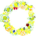 The wreath of yellow flower objects