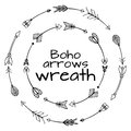 Wreaths of hand drawn arrows. Tribal doodle elements
