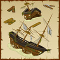 Wreck of the ancient ship and its wreckage vector set three image Royalty Free Stock Images