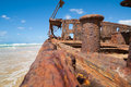 Wreck of the maheno fraser island bollard and hull rusting hulk australia Royalty Free Stock Photo