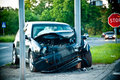 Wrecked car after hitting a lamp post accident Royalty Free Stock Photos