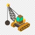 Wrecking ball crane icon, isometric 3d style Royalty Free Stock Photo