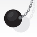 Wrecking ball swing swinging with blank gray background Royalty Free Stock Images