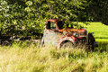Wrecking car old in countryside in maine usa Stock Image