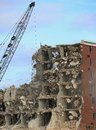 Wrecking of the holiday inn tearing down an old hotel with a ball Stock Image