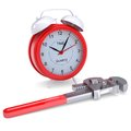 Wrench and an alarm clock render on a white background Stock Photography