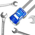 Wrench and Car for Car Service,  Repair Concept Royalty Free Stock Photo