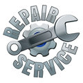 Wrench and gear. Repair service emblem