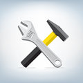 Wrench and hammer icon Royalty Free Stock Photo