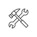 Wrench and hammer line icon, outline vector sign, linear style pictogram isolated on white