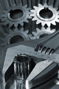 Wrench, nut and gears idea Stock Photos