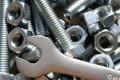 Wrench, nuts and bolts Royalty Free Stock Photos