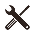 Wrench and screwdriver icon isolated on white background Royalty Free Stock Photos