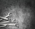 Wrench tools on grunge metal Stock Image