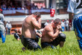 Wrestlers turkish pehlivan at the competition in traditional kirkpinar wrestling edirne turkey july is a oil Stock Images