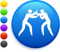 Wrestling icon on round internet button Royalty Free Stock Photo