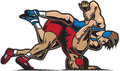 Wrestling illustration of two guys Stock Image