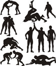 Wrestling silhouettes freestyle and greco roman competitive contact sport Stock Images