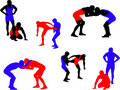 Wrestling vector silhouettes Royalty Free Stock Photo