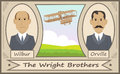 The wright brothers cartoon illustration of and their glider eps Royalty Free Stock Photography
