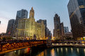 Wrigley Building, Tribune Tower, and the Magnificent Mile Royalty Free Stock Photo