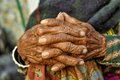 Wrinkled hands of an old woman in nepal Royalty Free Stock Photo