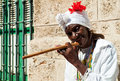 Wrinkled old lady with a cigar in Havana Royalty Free Stock Image