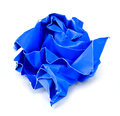 Wrinkled paper blue on white background Royalty Free Stock Image