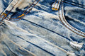 Wrinkles blue jeans texture. Jeans background Royalty Free Stock Photo