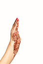Wrist and hand of young girl with henna mehendi Royalty Free Stock Photo