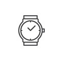 Wrist watch line icon, outline vector sign Royalty Free Stock Photo