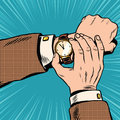 Wrist watch retro pop art Royalty Free Stock Photo