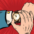 Wrist watch retro pop art Royalty Free Stock Photo