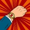 Wrist watch show now pop art vector illustration Royalty Free Stock Photo