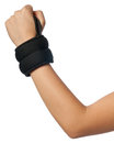 Wrist weights vertical isolated photo of a girl with small weight these are used for sports injury reasons Royalty Free Stock Photo