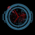Wristwatch d xray red and blue transparent isolated on black background Royalty Free Stock Photos