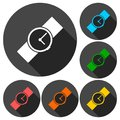 Wristwatch vector icons set with long shadow