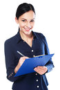 Write on clipboard business woman looking and hearing you Stock Image