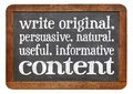 Write original useful informative conctent persuasive natural content creating content advice white chalk text on a vintage slate Royalty Free Stock Images