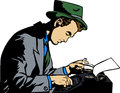 Writer a comic book style illustrated seated man is typing at his typewriter Royalty Free Stock Photo
