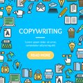 Writer and Copywriting Signs Round Design Template Line Icon Concept. Vector