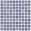 100 writer icons set grunge sapphire Royalty Free Stock Photo