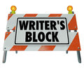 Writer s block words road construction barrier barricade on a or sign stopping you from making progress writing a novel article Royalty Free Stock Photos